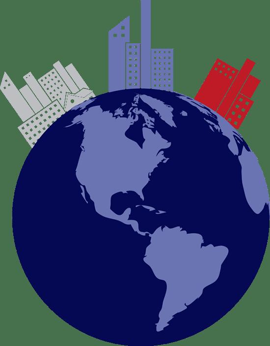 Ilustración: mundo con ciudades de diferentes colores