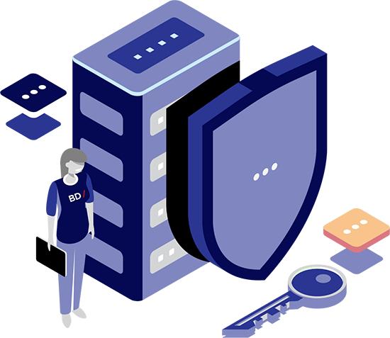 Ilustración de servidor y persona